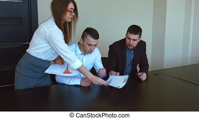 vergadering, zakenkantoor, mensen