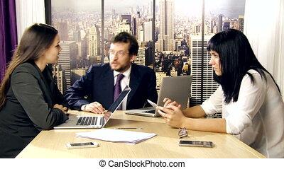 vergadering, zakenkantoor