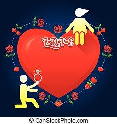 verhaal, liefde, symbool, menselijk, :, huwen