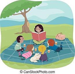 verhaal, stickman, luisteren, geitjes, picknick, boek