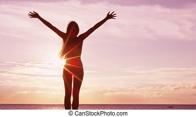verheffing, geluk, sereen, -, succes, vrolijke , zalig, op, armen, vrouw, vrijheid