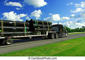 verhuizen, vrachtwagen, straat
