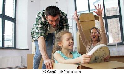 verhuizing, gezin, kind, gelukkig huis, nieuw