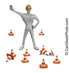 verkeer, de arbeider van de bouw, kegel, 3d