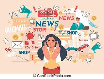 verkeer, gevallen, nieuws, accidents., coronavirus, hoofdpijn, inenting, hebben, illustration., vector, vrouw, noise.