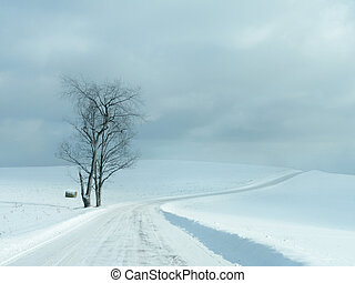 verlaten, winter, straat