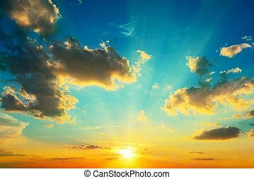 verlicht, sunlight., wolken, sunset.