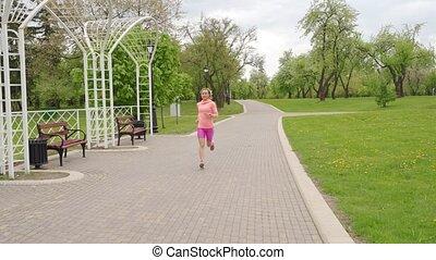 verlies, vrouw, gewicht, loper, concept., -, rennende , buitenshuis, opleiding