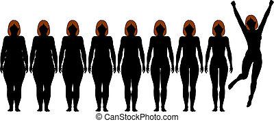 verlies, vrouw, gewicht, passen, na, dieet, silhouettes, dik, fitness