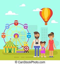 vermaak, weekend., gezin, kids., vrolijke , park