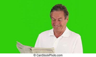 vermakelijk, nieuws, lezende , artical, papier, man, gepensioneerd