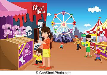 vermakelijkheid park, spelend, gezin