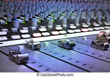 vermengende console, studio, opname