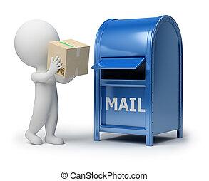 verpakken, mensen, -, kleine, mailing, 3d