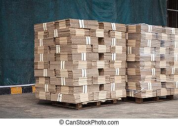 verpakking, dozen, stapel