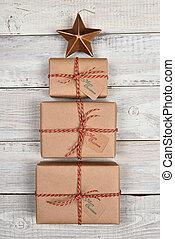 verpakte, bruine , kerstmis stelt voor