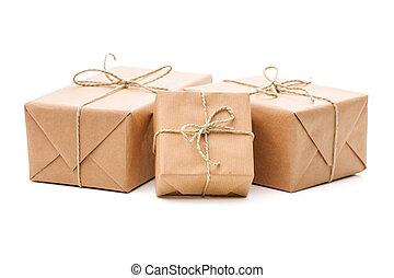 verpakte, bruine papierene kavels