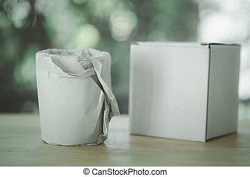 verpakte, glas, drank, papier, waterambacht