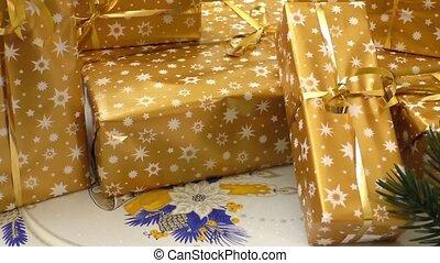 verpakte, kadootjes, kerstmis