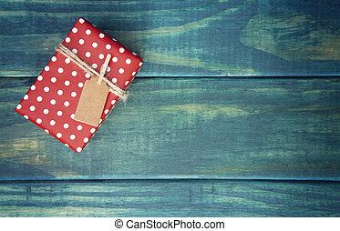 verpakte, kerstmis, tafel, enkel, kado, cadeau, houten, label