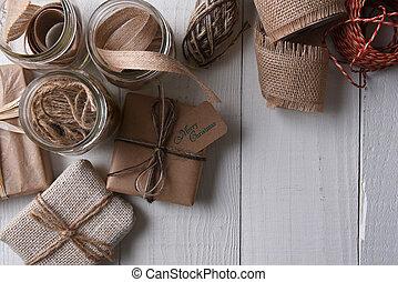 verpakte, vlakte papier, kerstmis stelt voor