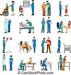 verpleegkundige, set, iconen