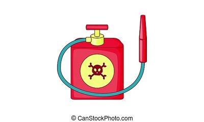 verpulveren, animatie, insecticide, rood, pictogram
