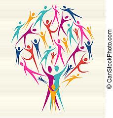 verscheidenheid, kleuren, set, boompje, menselijk