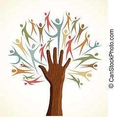 verscheidenheid, set, boompje, menselijke hand