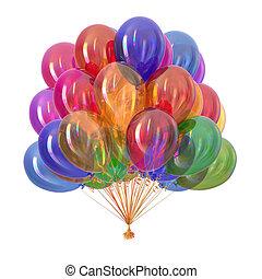 versiering, feestje, veelkleurig, ballons