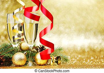 versiering, nieuw, champagne, jaar