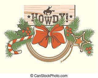versiering, of, ontwerp, amerikaan, kerstmis, westelijk, cowboy, achtergrond