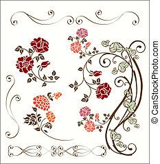 versiering, roos, set