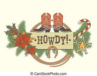 versiering, traditonal, kerstmis, laarzen, amerikaan, westelijk, achtergrond, winter