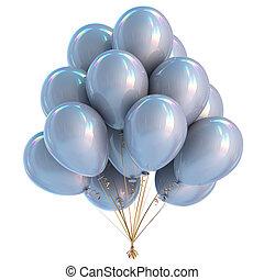 versiering, verjaardagsfeest, witte , ballons, zilver