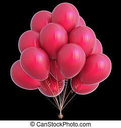 versiering, vrijstaand, jarig, black , feestje, ballons, rood