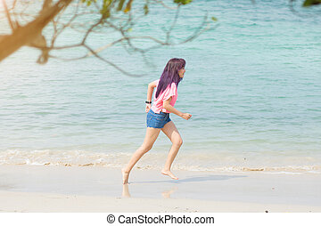 verslappen, holiday., tijd, rennende , vrouw, geluk, strand.