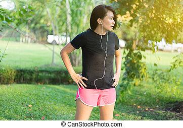 verslappen, na, rennende , muziek, luisteren, vrouwen