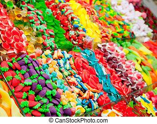 versuikeren, display, gelei, kleurrijke, zoetigheden