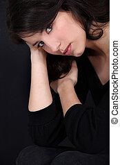 verticaal, close-up, brunette, prachtig