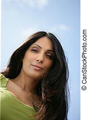 verticaal, close-up, brunette