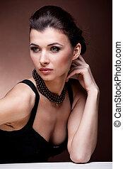 verticaal, exclusief, vrouw, juwelen, luxe