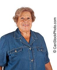 verticaal, glimlachende vrouw, oud