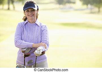 verticaal, golfspeler, vrouwlijk