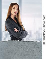verticaal, jonge, businesswoman
