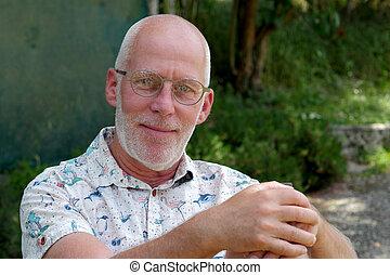 verticaal, man, tuin, relaxen, middelbare leeftijd