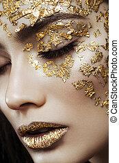 verticaal, meisje, closeup, beauty