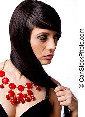 verticaal, model, mode, juwelen