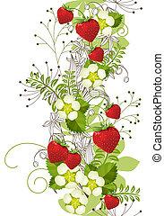 verticaal, model, seamless, floral, aardbeien, wild