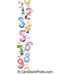 verticaal, model, seamless, getallen, achtergrond, plezier, grens